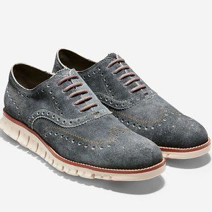 Cole Haan Zerogrand Wingtip Denim Gray Oxford
